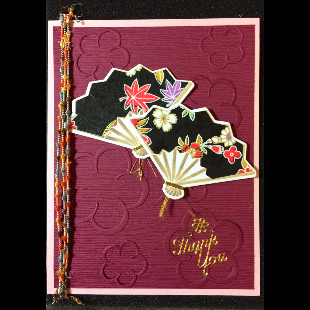 14002 Fans on Plum Blossoms - Cathy Scrivnor Card Sample 2015
