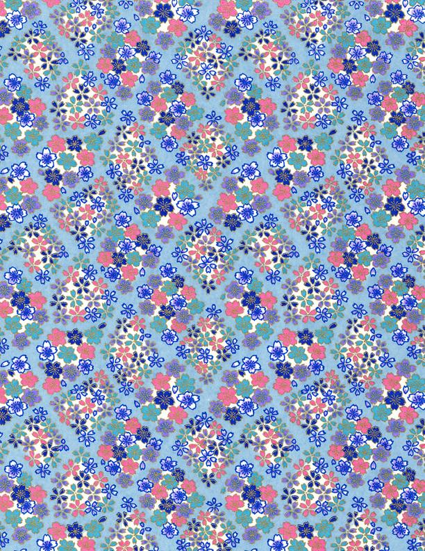 RKB287 Blue Sakura Summer Floral Washi - Bulk Washi Paper - www.HankoDesigns.com 2017