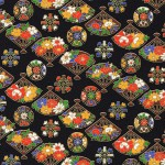 RKB2867  Midnight Floral Fans Washi