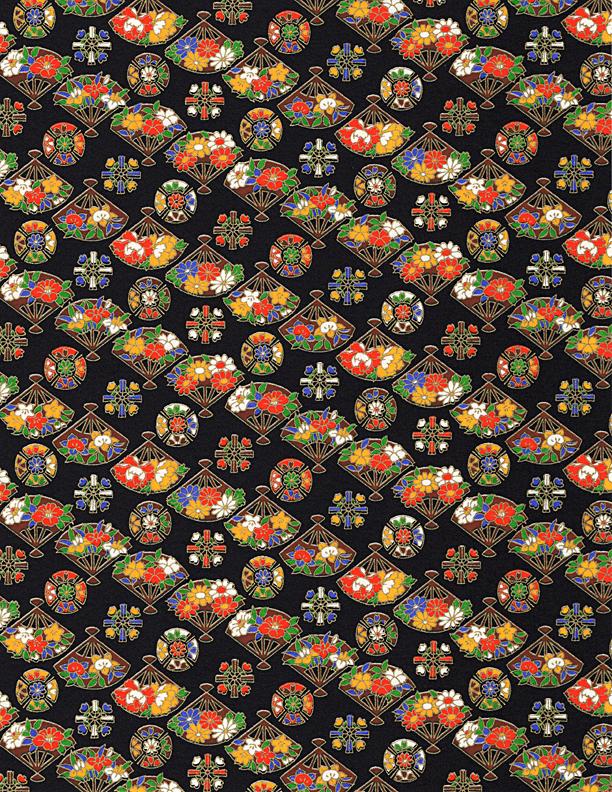 RKB2867  Midnight Floral Fans Washi - 8.5 x 11 - www.HankoDesigns.com 2017 Bulk