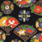 RKB2867  Midnight Floral Fans Washi