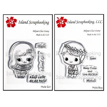 Hula Girl and Boy Stamp Set 2017 Island Scrapbooking - Hawaiian